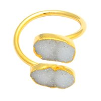 Druzy Two Stone Gold Plated Rings