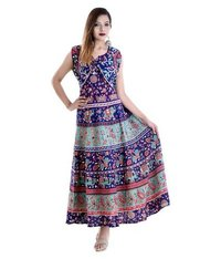 Traditional women jaipuri long jacket attached dress