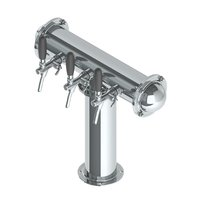 T Style Tower with 3 Flow Control Taps - SS Polished - Glycol Recirulation Loop+