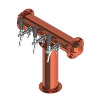 T Style Tower with 3 Flow Control Taps - Polished Copper - Glycol Recirculation Loop+