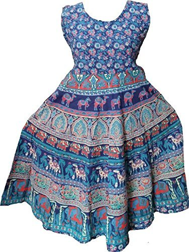 Printed Jaipuri Long Cotton Dress