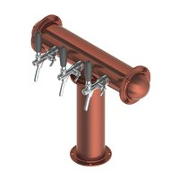 T Style Tower with 3 Flow Control Taps - Brushed Copper - Glycol Recirculation Loop+