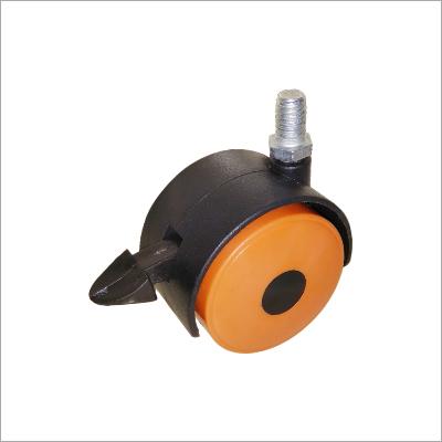 Twin Wheel Castor ThreadwithBreakOrange with Black