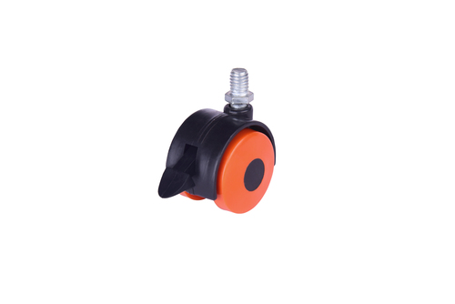 Twin Wheel Castor Thread with Break Orange with Black)