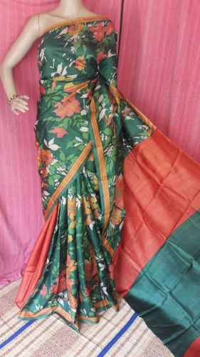 Digital Print Zari Green Tussar Saree