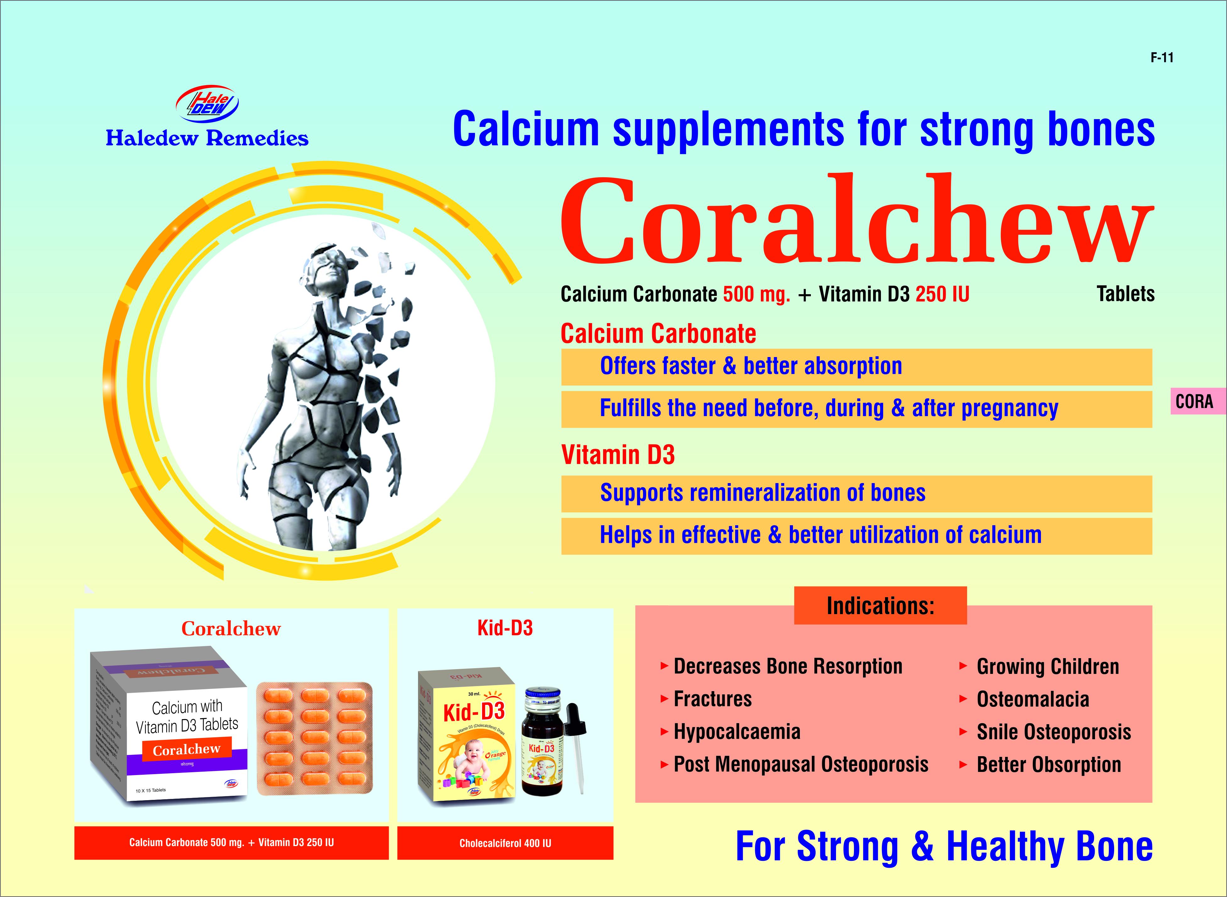 Calcium Carbonate 1250mg + Vitamin D3 250 I.U
