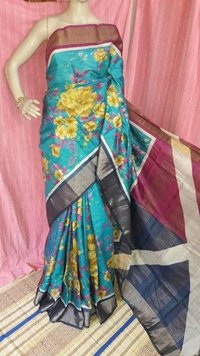Digital Print Zari Work Tussar Saree