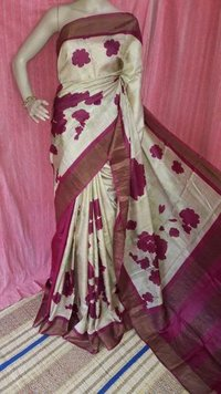 Exclusive Digital Print Zari Tussar Saree