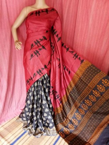 Ladies Silk Block Print Sarees