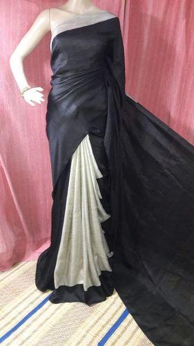 Exclusive Silk Black Block Print Saree
