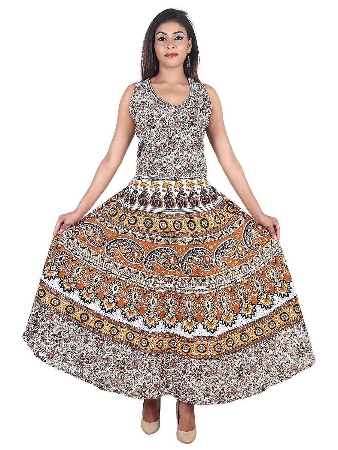 Jaipuri printed long maxi dress