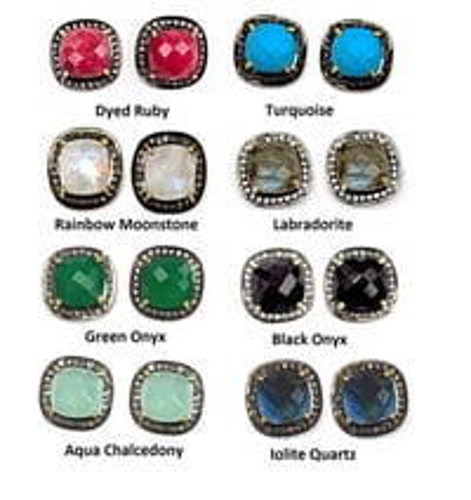Beautiful Gemstone Cushion Pave Diamond Stud Earrings
