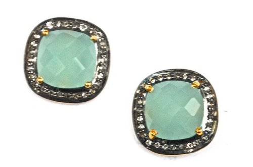 Pave Diamond Set Aqua Chalcedony Cushion Shape Gemstone Stud Earrings