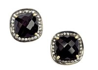 Pave Diamond Set Black Onyx Cushion Shape Gemstone Stud Earrings