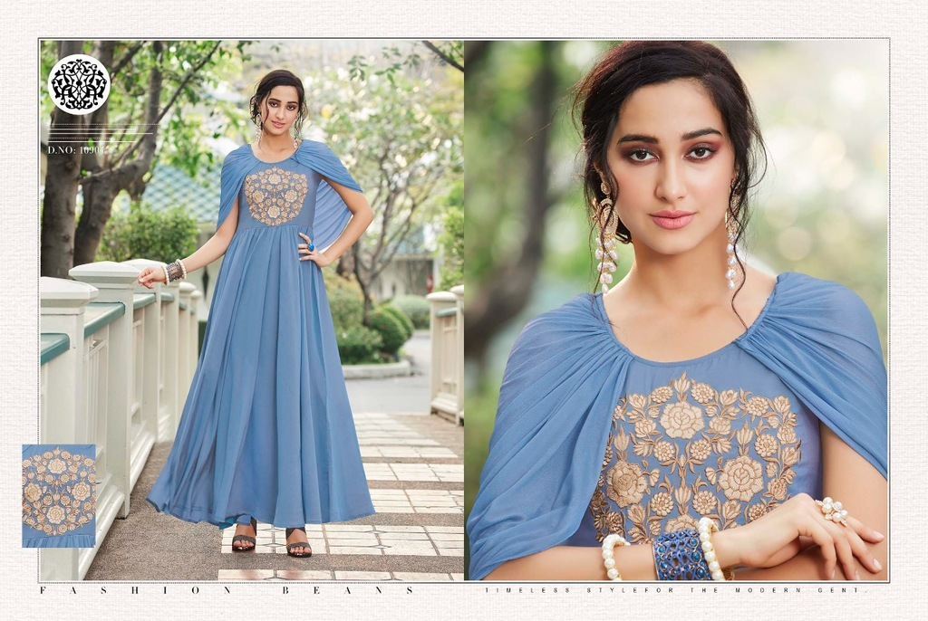 Georgette Embroidery Work Gown Stylish Kurti