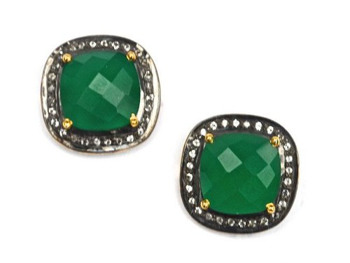 Pave Diamond Set Green Onyx Cushion Shape Gemstone Stud Earrings