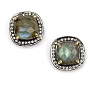 Pave Diamond Set Labradorite Cushion Shape Gemstone Stud Earrings