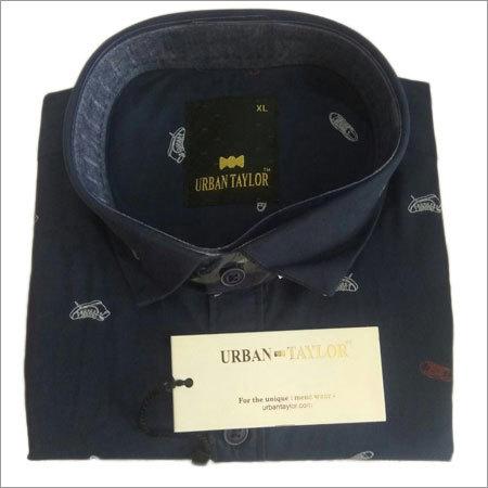 Men's Black Semi Casual Printed Shirt