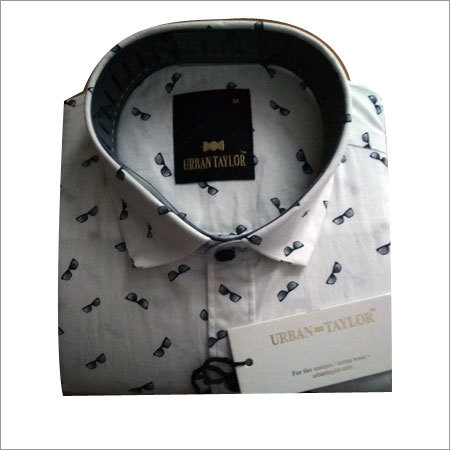 Men's White Semi Casual Printed Shirt