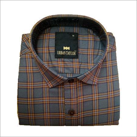 Mens Grey Semi Casual Checks Shirt