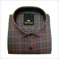 Men's Grey Semi Casual Checks Shirt
