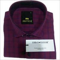 Men's Purple Semi Casual Checks Shirt