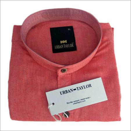 Mens Orange Chinese Collar Shirt