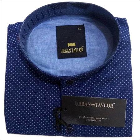 Polka Dot Chinese Collar Shirt