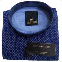Polka Dot Chinese Collar Shirt