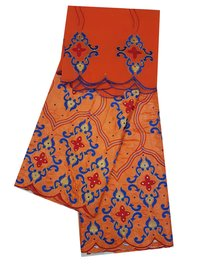 Orange Bazin Embroidery 5 meter with stones and 2.25 meter scarf head tie