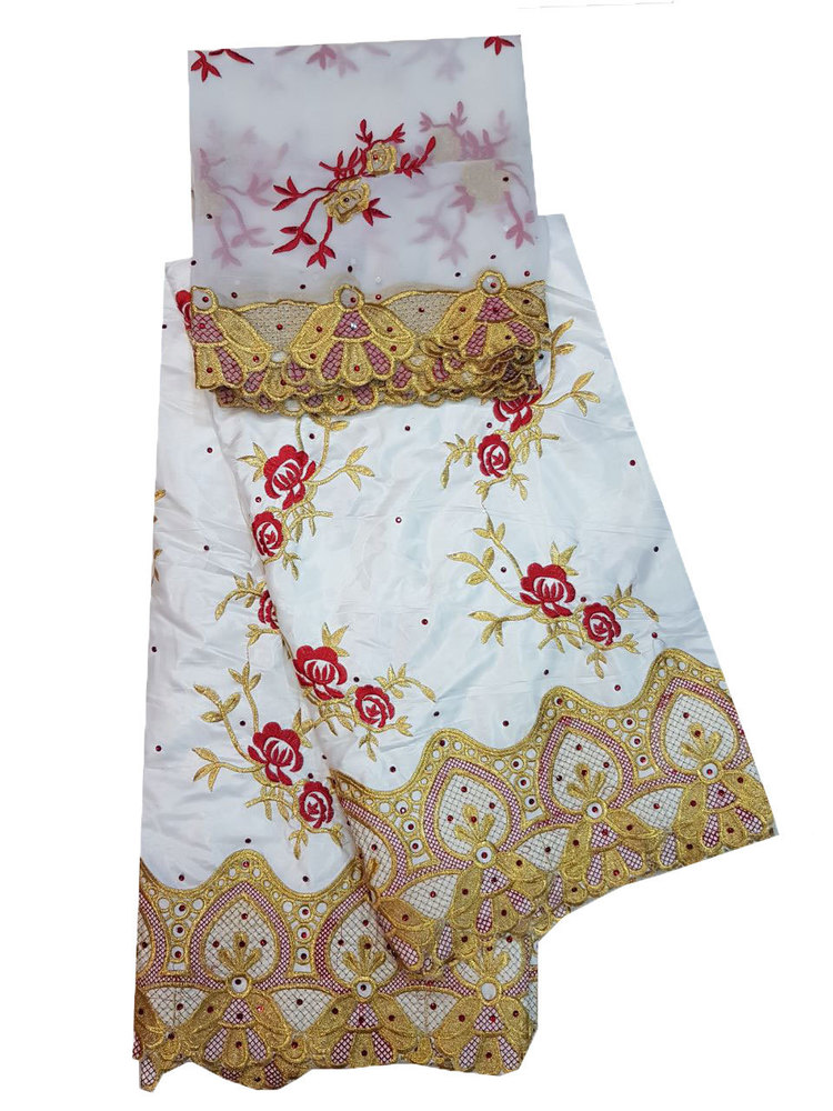 Bazin Embroidery Unstitched suite with White Color