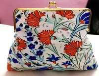 Flowers print clutch pouch