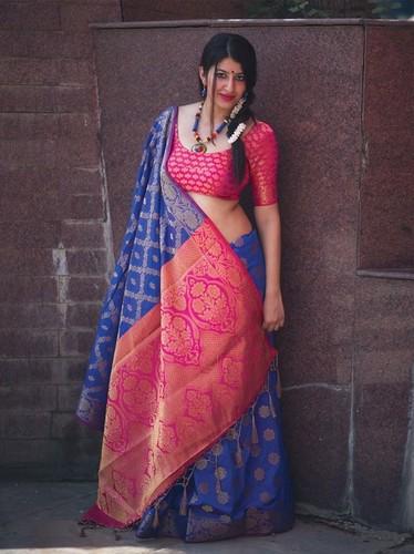 Blue Silk Zari Wholesale Designer Saree