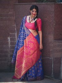 Blue Silk Zari Wholesale Designer Saree