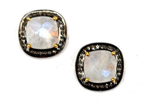 Pave Diamond Set Rainbow Moonstone Cushion Gemstone Stud Earrings