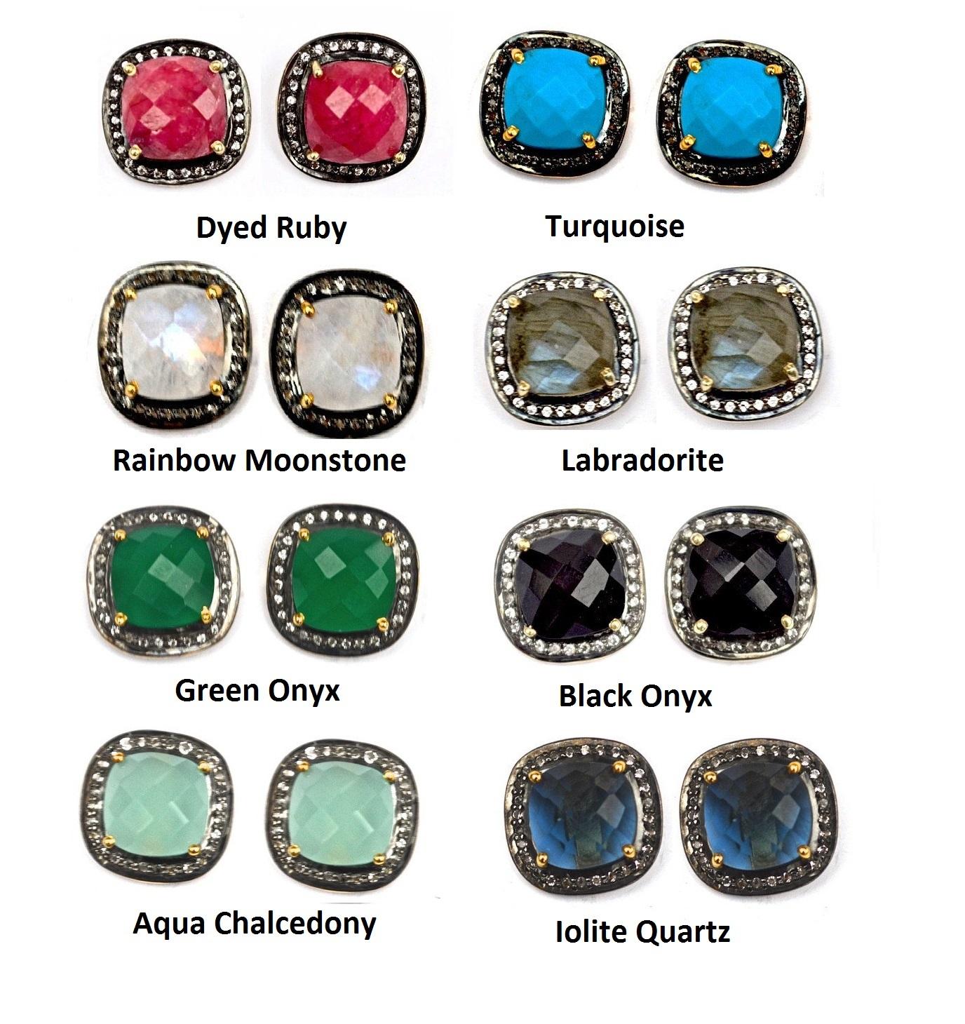 Pave Diamond Set Rainbow Moonstone Cushion Gemstone Stud Earrings