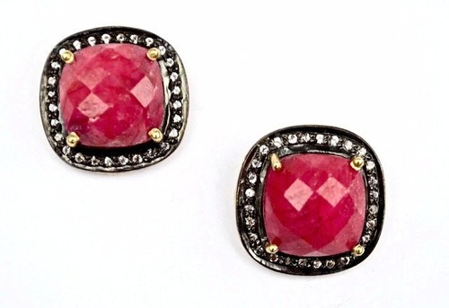 Pave Diamond Set Dyed Ruby Cushion Shape Gemstone Stud Earrings