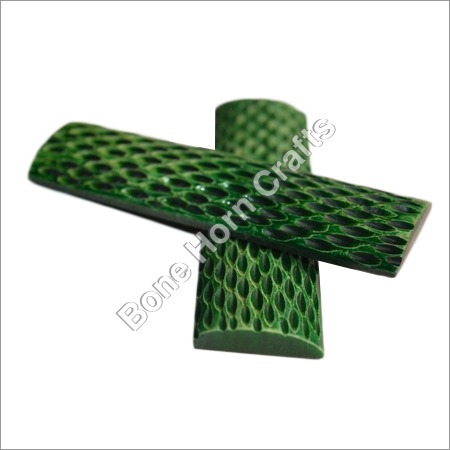 Dyed Stabilized Jigged Green Color Bone Knife Handle