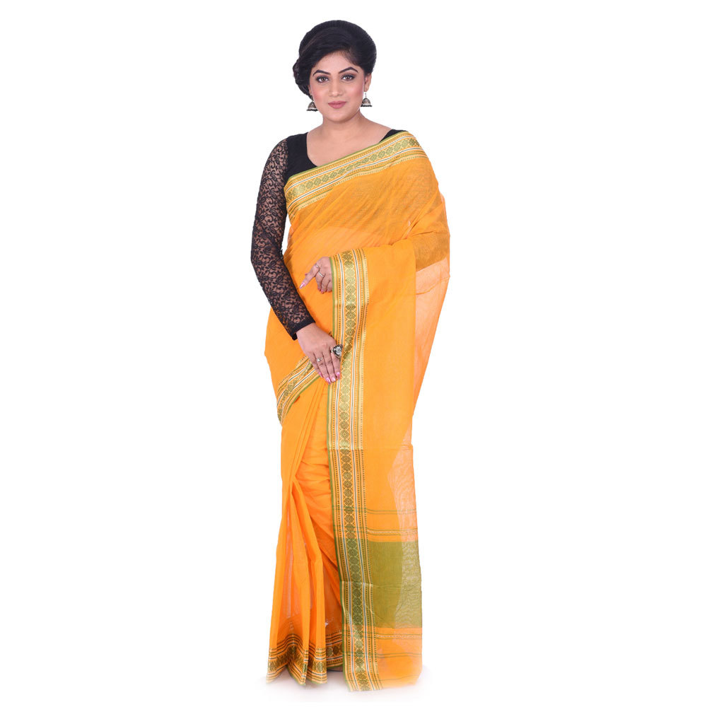 Ladies Orange Woven Cotton Tant Saree