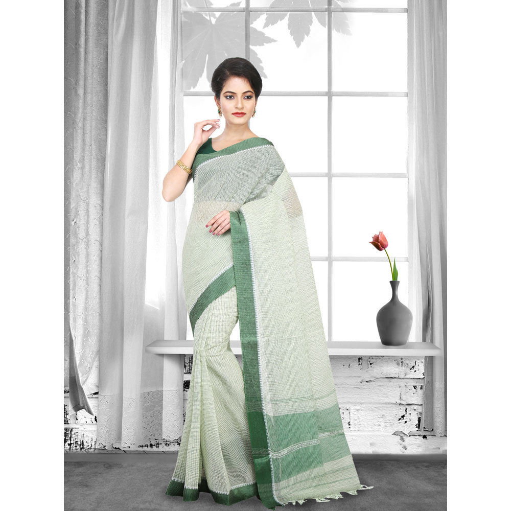 Ladies Green Woven Cotton Tant Saree