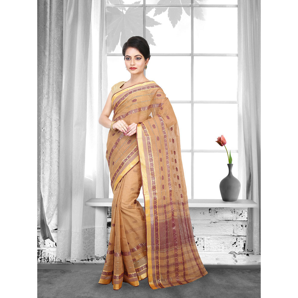 Ladies Brown Woven Cotton Tant Saree