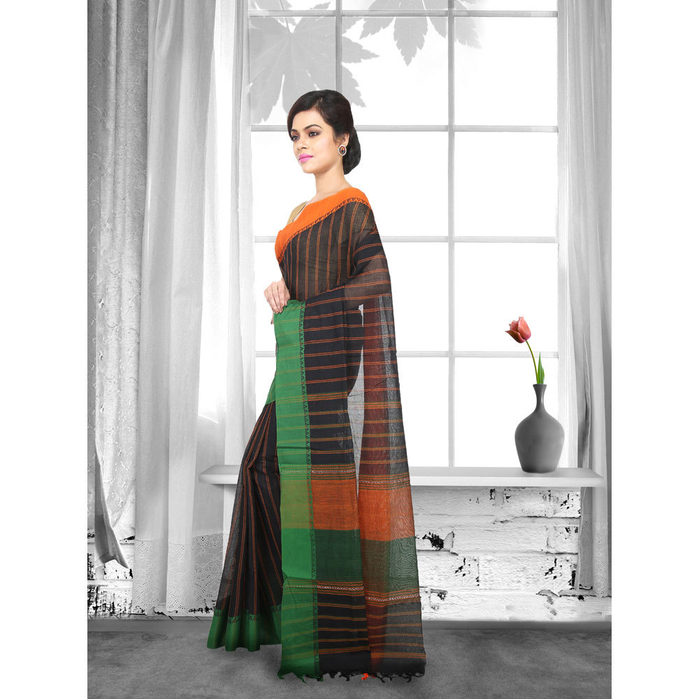 Ladies Woven Cotton Striped Tant Saree