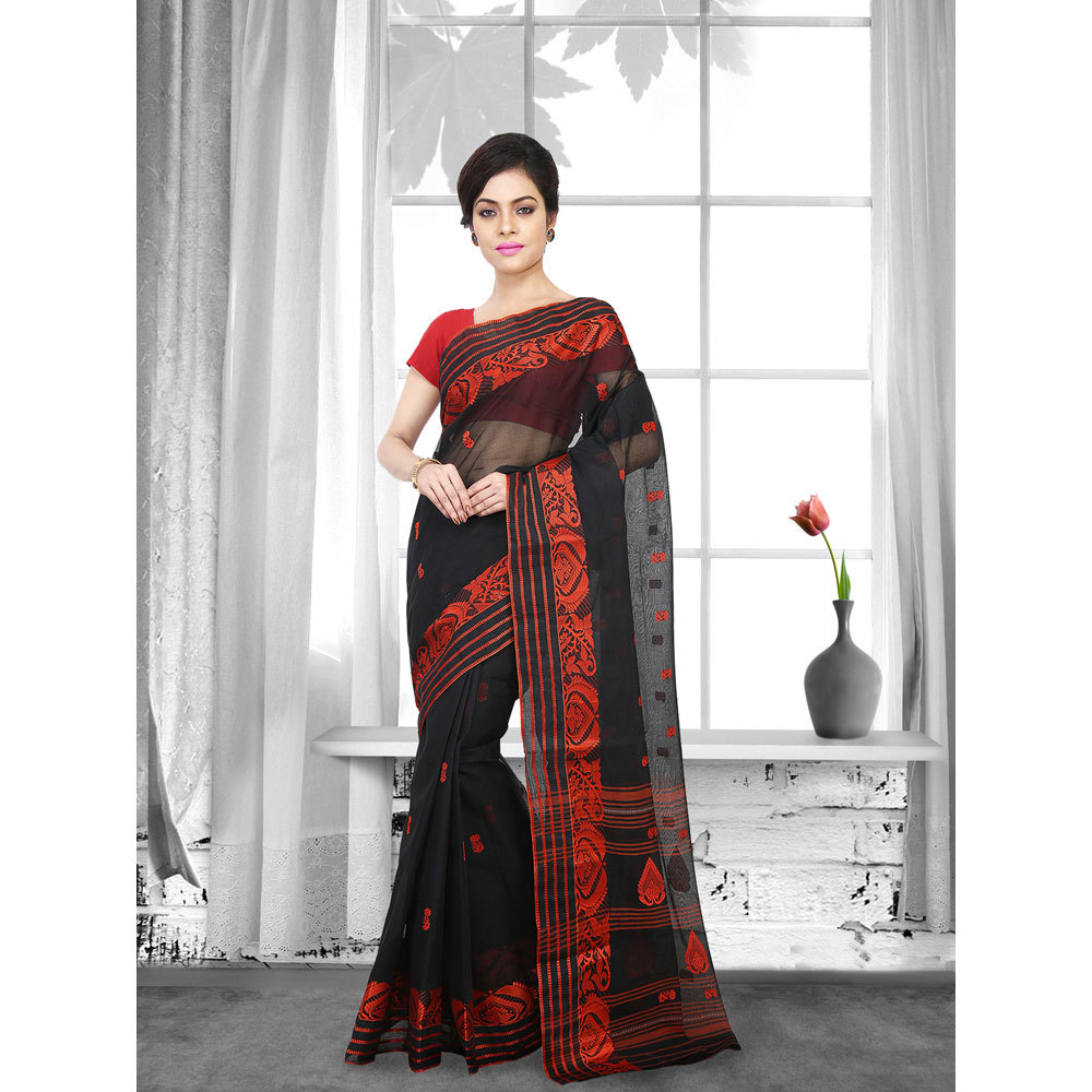 Ladies Black Woven Cotton Tant Saree