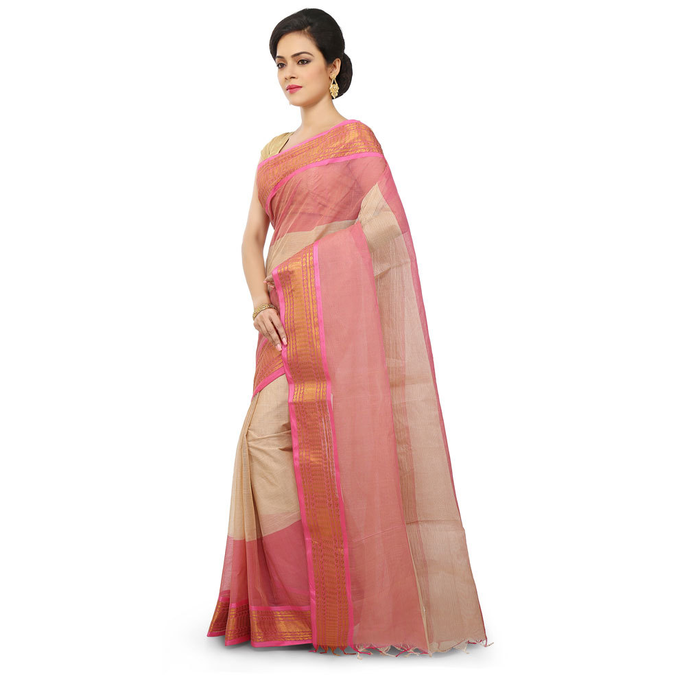 Ladies Multicolor Woven Cotton Traditional Tant Saree
