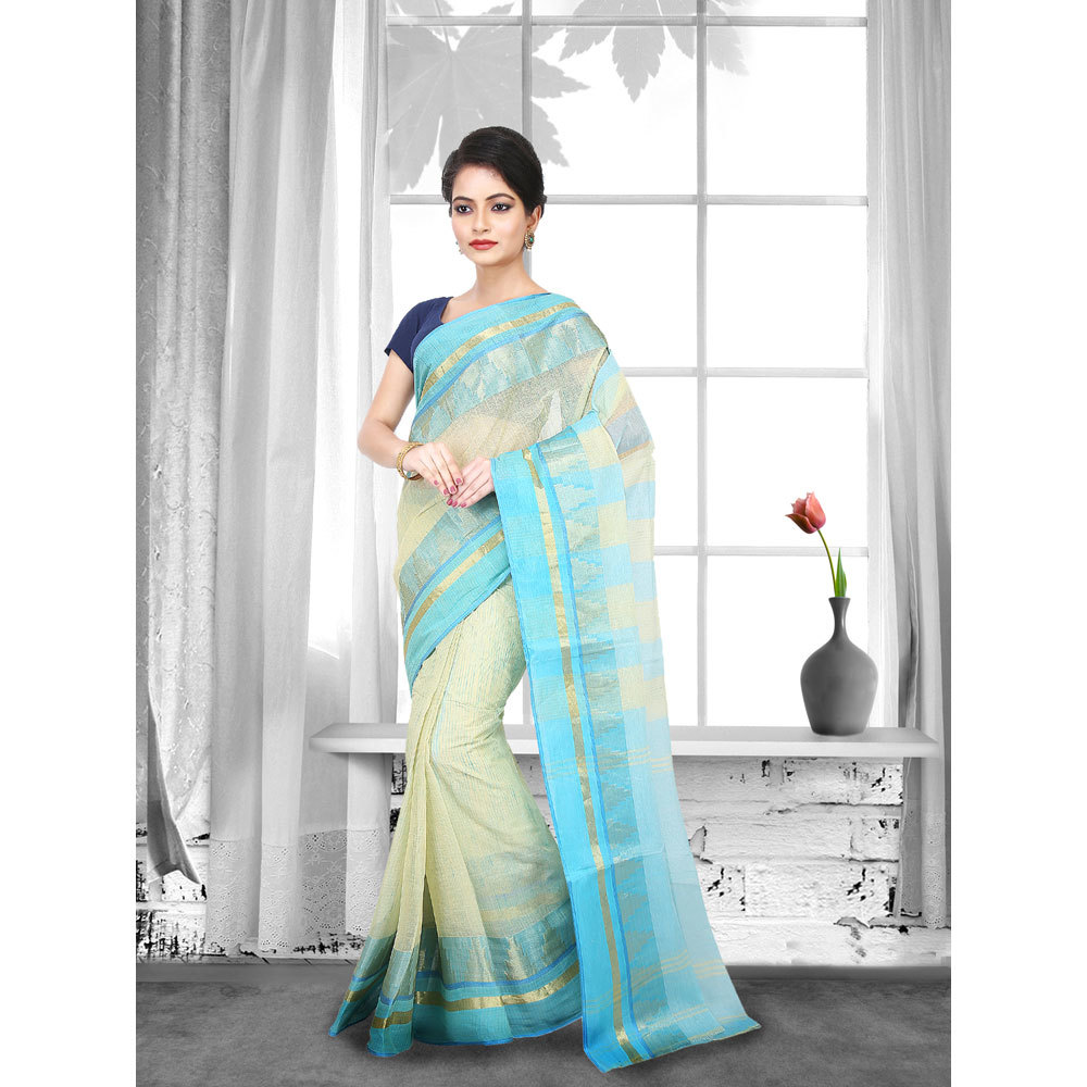 Ladies Beige Color Woven Tant Cotton Saree
