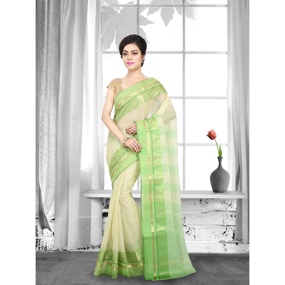 Ladies Green Color Woven Tant Cotton Saree