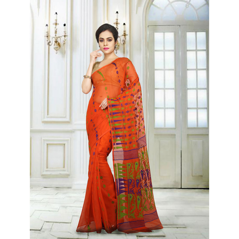 Ladies Orange Embroidered Jamdani Silk Cotton Saree
