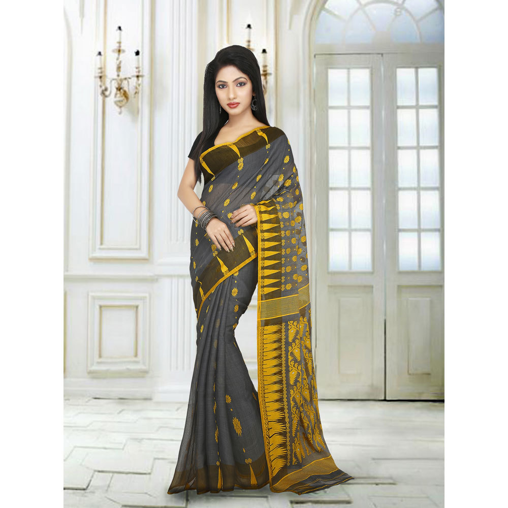 Ladies Black Embroidered Jamdani Silk Cotton Saree
