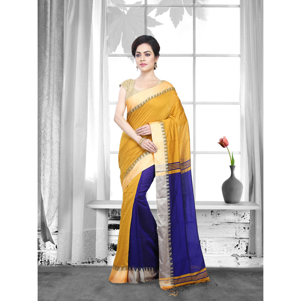 Ladies Yellow Color Woven Tant Cotton Saree