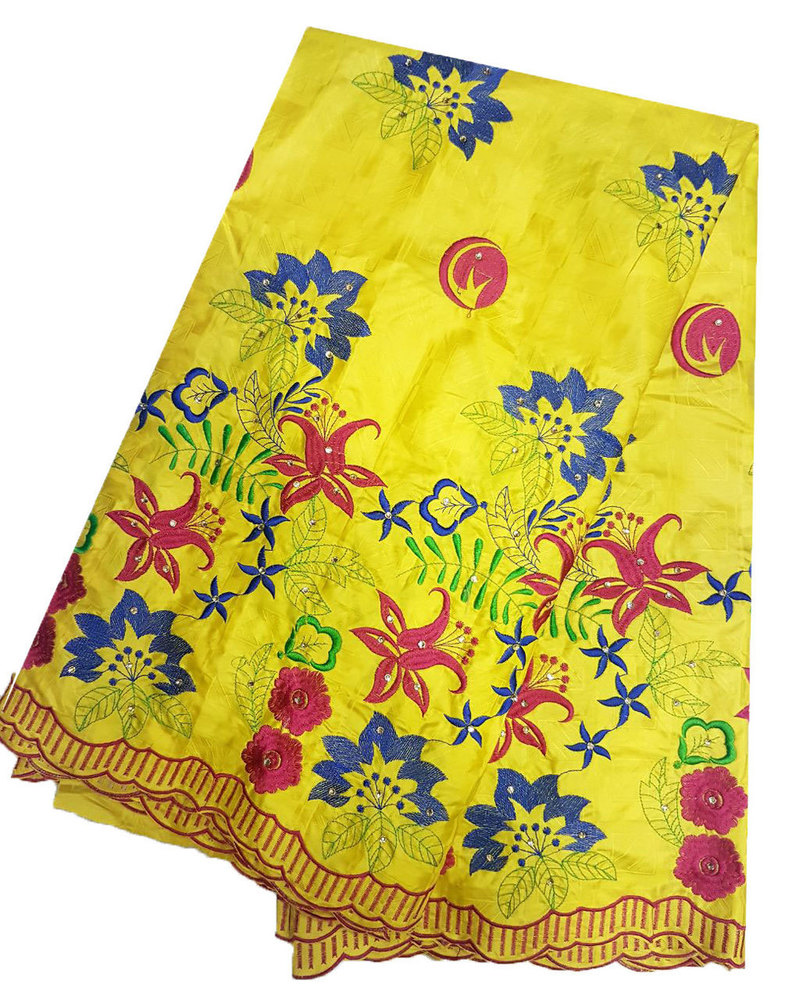 Yellow Bazin Embroidery with stones and scarf head tie